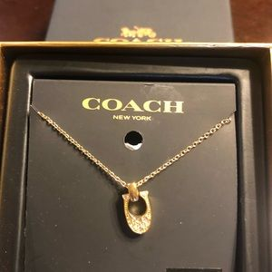 NWT COACH PAVE SIGNATURE NECKLACE  GOLD